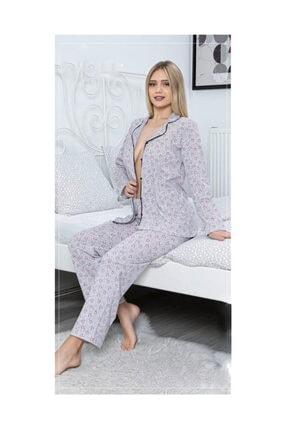 Sude Gömlekli Boydan Düğmeli Pijama Takımı 3058