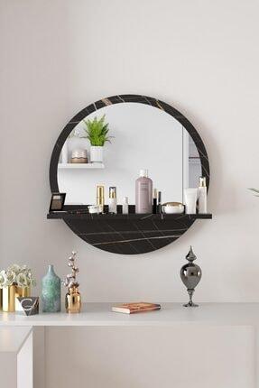 bluecape Yuvarlak Sonata Raflı 45cm Aynalı Dresuar Koridor Konsol Duvar Salon Mutfak Banyo Ofis Yatak Odası