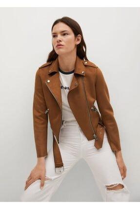 MANGO Woman Kadın Kahverengi Suni Süet Biker Ceket