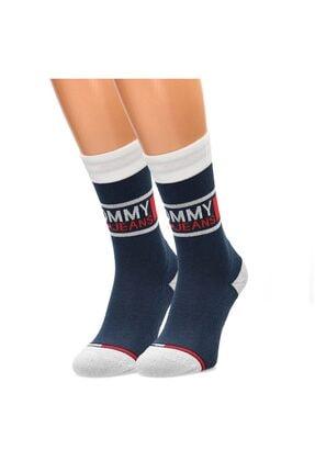 Tommy Hilfiger Erkek Lacivert Logo Baskılı Çorap 2'li