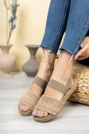 MUGGO Kadın Vizon Örgü Sandalet