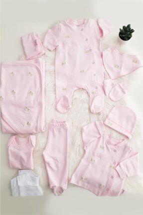 Pierre Cardin Kız Bebek Pembe Çiçekli Hastane Çıkışı Set 10'lu