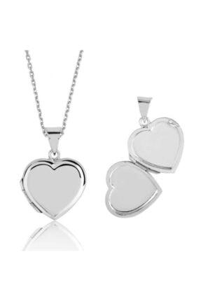 Gumush Gümüş Kapaklı Kalp Kolye