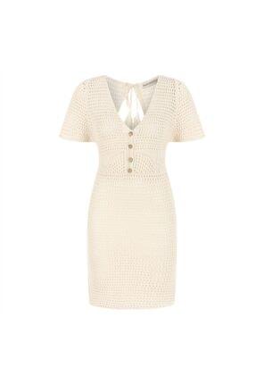Mudo Sırt Detaylı Örme Pamuklu Midi Elbise