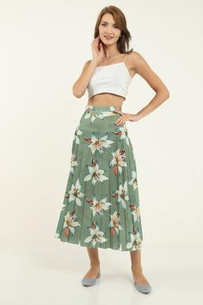 Giyimsel Kadın Yeşil Çiçek Astarlı Pliseli Etek