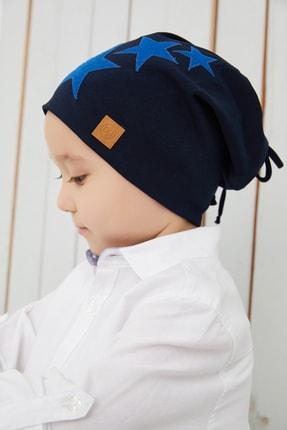 Babygiz Erkek Çocuk Lacivert Mavi Yıldızlı Şapka Bere Yumuşak Çift Katlı %100 Doğal Pamuklu Penye