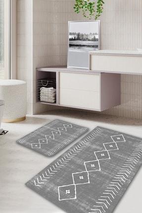 EVİMOD Grey Bohemıan Gri Beyaz Iskandinav Tarz Yıkanabilir 2li Banyo Halısı Paspas Klozet Takımı X