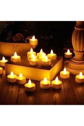 KAZIM ALIÇ Ledli Mum Tealight Işıklı Dumansız Titreyen Alevli Sarı Led Mum Pilli 24 Adet Pil Dahil