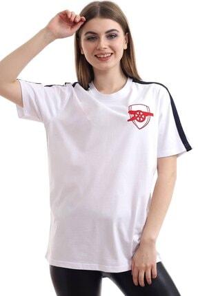 MAYBE-E Rahatfit Arsnl Nakışlı Beyaz T-shirt %100 Pamuk