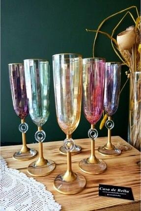 Paşabahçe Rengarenk 6 Kişilik Şampanya Flüt Kadeh