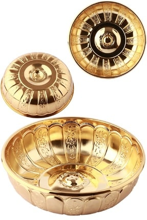 BİTERSE Nostaljik Osmanlı Hanedan Demir Hamam Tası Altın Sarı Renk 20 Cm