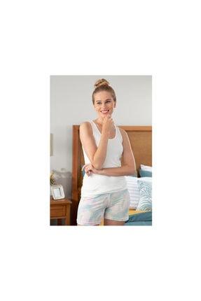 English Home Kadın Pembe Feather Viskon Şort Pijama Takımı S