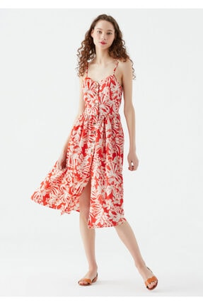 Mavi Çiçek Baskılı Keten Karışımlı Elbise 130869-33935