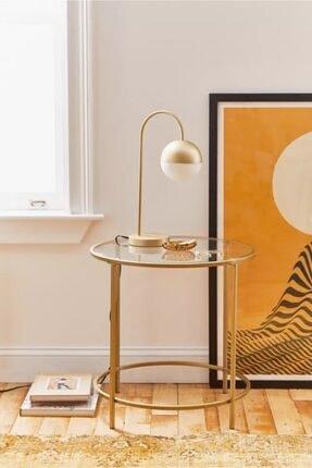 tino furniture Valletta Gold Kaplama Yan Sehpa Şeffaf Camlı Metal Yan Sehpa