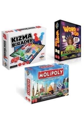 Proselmix Molipoly Emlak Ticaret Oyunu + Kızma Birader+ Word To Go Xl Tabu Xl Edition 3'lü Süper Set