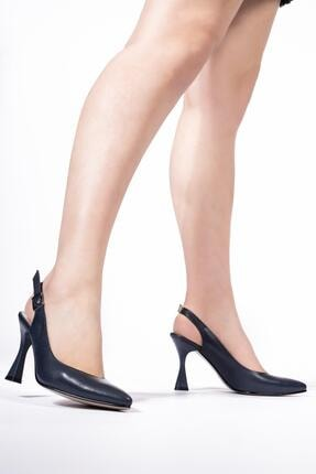 CZ London Hakiki Deri Kadın Sivri Burun Kadeh Topuklu Ayakkabı