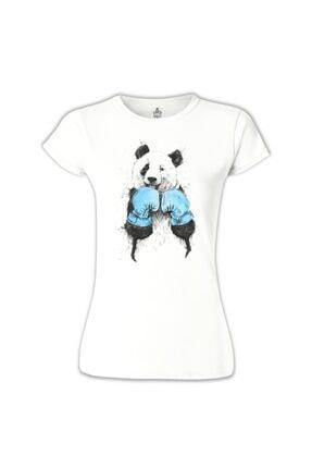 Lord T-Shirt Kadın Beyaz Panda - Boks Tshirt - BB-651