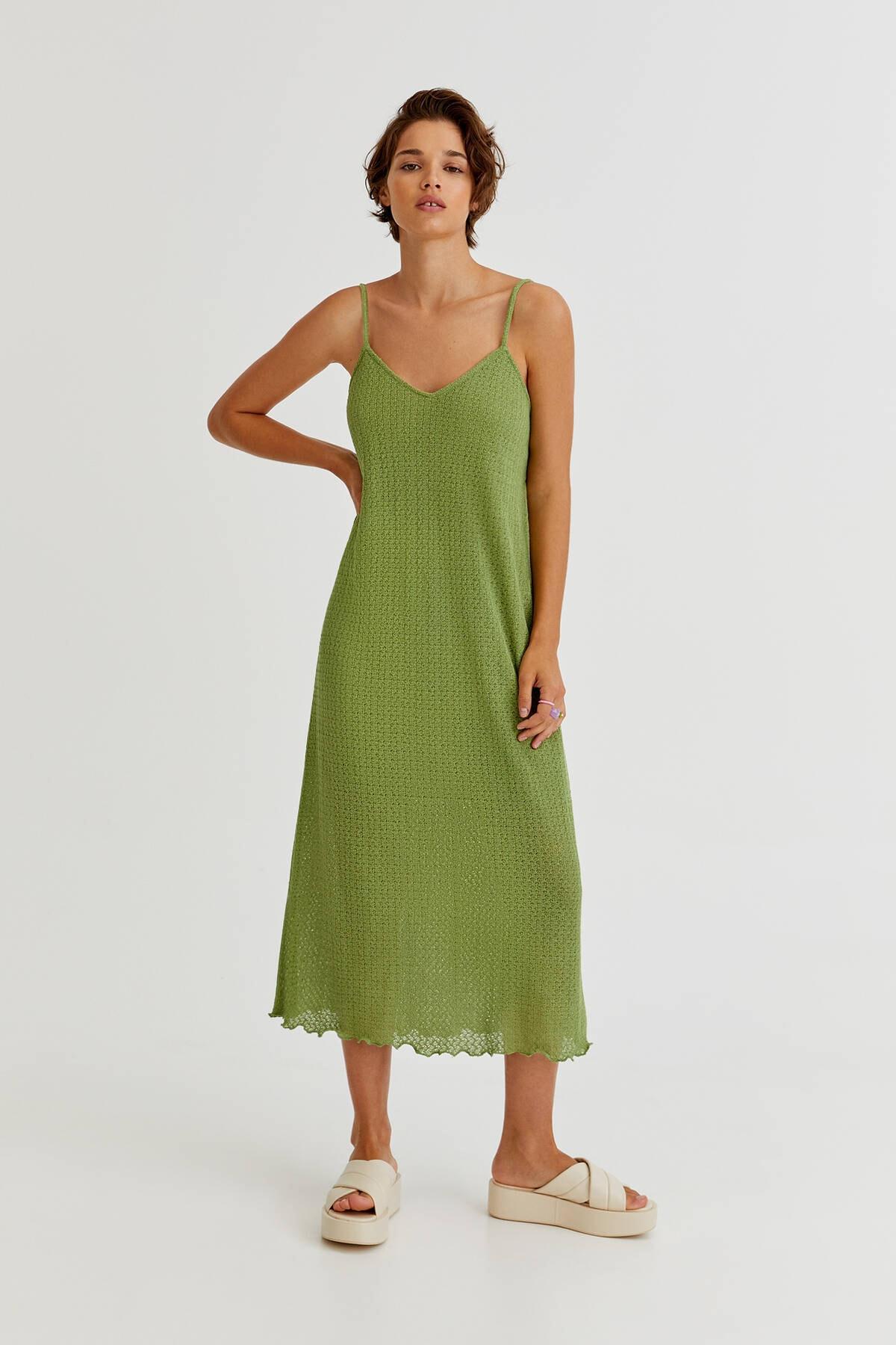 Pull & Bear Kadın Yeşil Uzun Açık Örgü Elbise