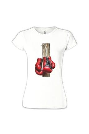 Lord T-Shirt Kadın Beyaz Boks Eldivenleri Tshirt - BB-743