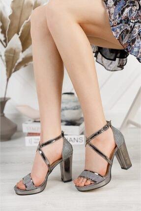 Lady Selenia Işıltılı Platin Platform Çapraz Baret Topuklu Ayakkabı