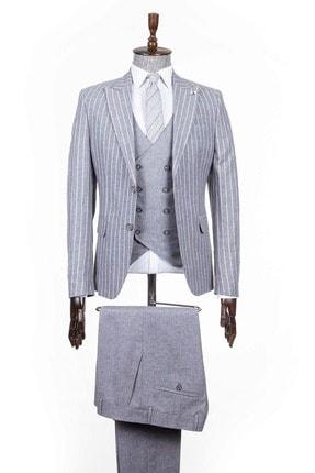 Mcr Erkek Gri Beyaz Çizgili Geniş Yaka Kombinli Takım Elbise