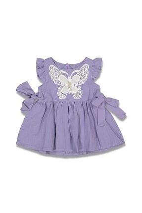 Dandini Kelebek Nakışlı Müslin Bebek Elbise
