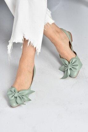 Fox Shoes Kadın Yeşil Kurdele Detaylı Babet H726809009