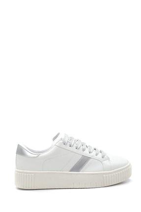 Derimod Kadın Beyaz Renkli Bağcıklı Şerit Detaylı Sneaker