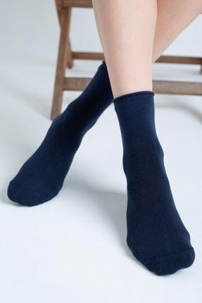 Forwena Lacivert Modal Pamuklu Lastiksiz Soket Çorap