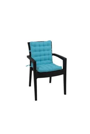 Kuscini Lavanda Gold Yüksek Arkalıklı Sandalye Minderi Turkuaz 45x95