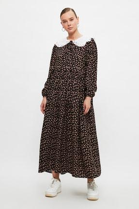Trendyol Modest Siyah Yaka Detaylı Viskon Elbise TCTSS21EL3655