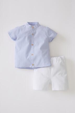 DeFacto Erkek Bebek Kısa Kollu Gömlek Ve Şort Takımı