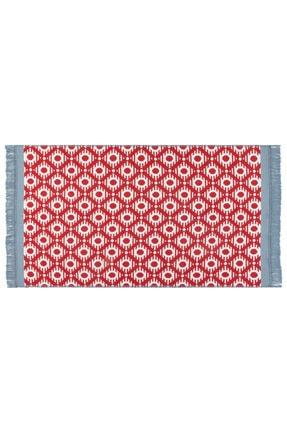 Madame Coco Bonnie Saçaklı Dokuma Kilim - Kırmızı / Mavi - 60x100 cm