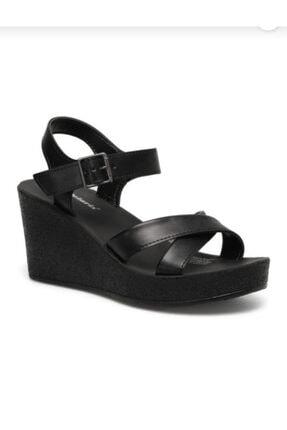 Polaris Kadın Siyah Dolgu Topuk Sandaleti