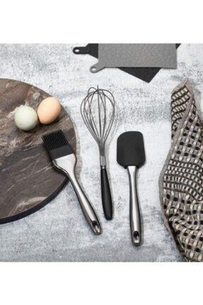 ZUZU MADE 3'lü Lüx Set Füme-siyah Renk Yumurta Fırçası + Spatula + Çırpıcı