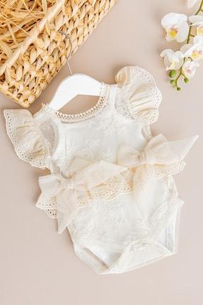 Babymod Kız Bebek Tulum Güpürlü Fiyonklu Bebek Tulum