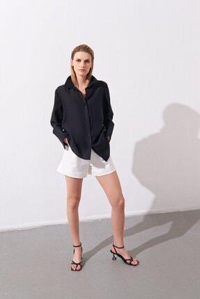 rue. Kadın Siyah Oversize Gömlek