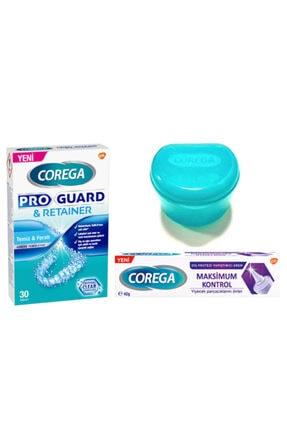 Corega Proguard Protez Temizleyici Tablet 30'lu + Maksimum Kontrol Yapıştırıcı 40gr + Saklama Kabı