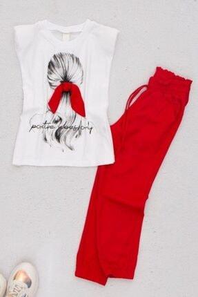 Riccotarz Kız Çocuk Kırmızı Baskılı Eşofman Takımı