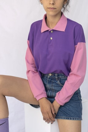 Vatkalimon Kadın Mor Pembe Renkli Crop Sweatshirt