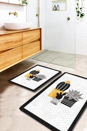 EVİMOD Gold Tropical Sarı Gri Siyah Kaktüslü Yıkanabilir 2li Banyo Halısı Paspas Klozet Takımı X