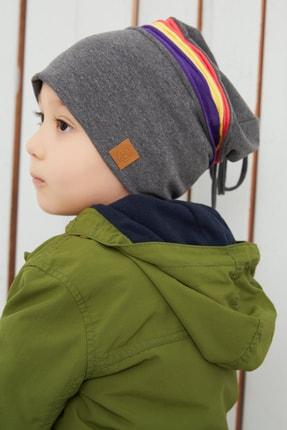 Babygiz Gri Üzerine Renkli Şeritli Çocuk Bebek Şapka Bere Yumuşak Çift Katlı %100 Doğal Pamuklu Penye