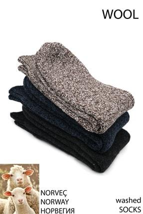 Pallmali - Asorti 3 Çift Norveç Tipi Havlulu Yünlü Likralı Termal Kışlık Çorap 6042