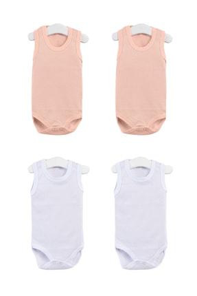 Pattaya Kids Kız Bebek Somon Beyaz Kolsuz Çıtçıtlı Body Ptk20s-400