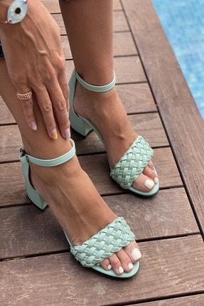 İnan Ayakkabı Kadın Su Yeşili Tek Bant Ince Örgü Bilekli Topuklu Ayakkabı