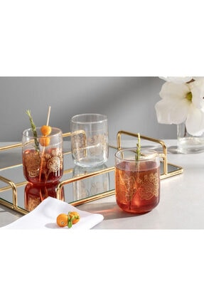 English Home Luba Cam 3'lü Meşrubat Bardağı 270 Ml Gold