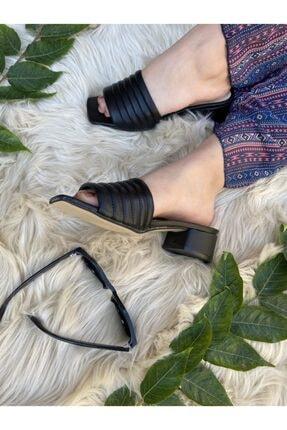 haykmar Kadın Kalın Bantlı Siyah Topuklu Terlik