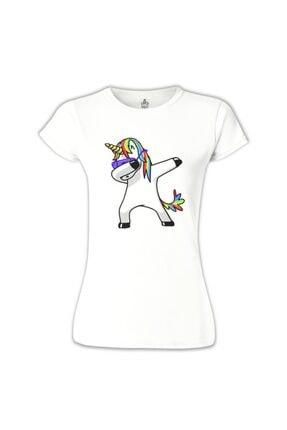 Lord T-Shirt Kadın Beyaz Unicorn - Rainbow T-Shirt