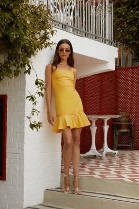 TRENDYOLMİLLA Sarı Askılı Elbise TWOSS20EL2504
