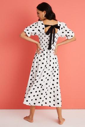 Cool & Sexy Kadın Ekru Sırt Detaylı Gipeli Maxi Elbise BK1187